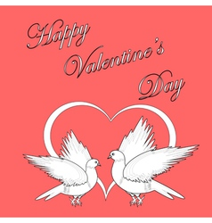 Two doves with a heart vector image