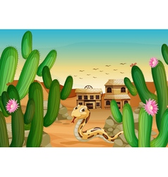 a snake and a house vector image vector image