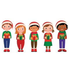 Cartoon children with Christmas gifts vector image