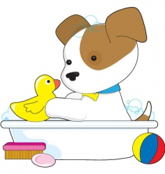 cute puppy bath vector image vector image