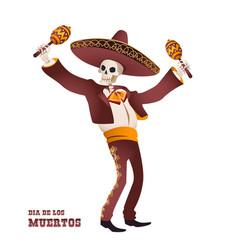 Dia de muertos mariachi musician skeleton maracas vector