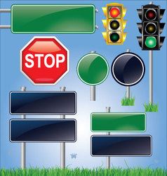 empty road sign and traffic light set vector image