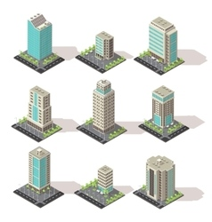Isometric Office Buildings Set vector image