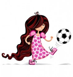 little girl playing soccer vector image