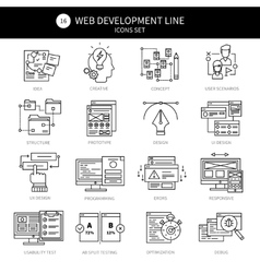 Web Development Black Line Icon Set vector image