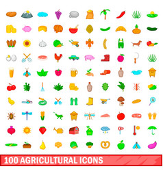 100 agricultural icons set cartoon style vector image vector image
