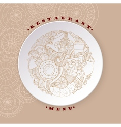Coffee and Tea Sketch Doodles on White Plate vector image