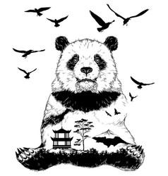 double exposure panda bear vector image vector image