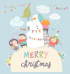 happy children celebrating christmas vector image vector image