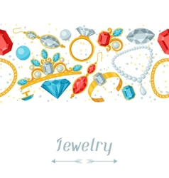Seamless pattern with beautiful jewelry and vector image