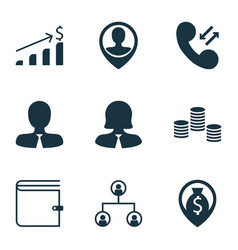Set of 9 hr icons includes money successful vector