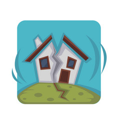 small house ruined in two pieces because of strong vector image