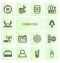 14 computer icons vector