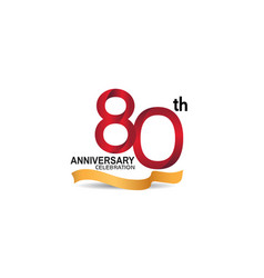 80 anniversary design logotype red color vector
