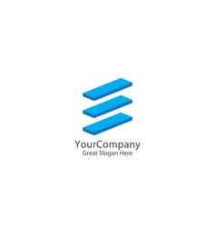abstract letter e logo icon beam block logo vector image