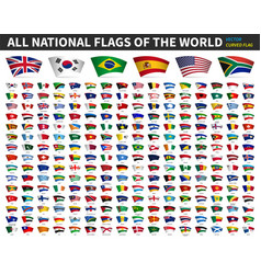 All national flags world curved design vector