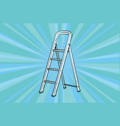 Aluminum ladder for repairs in the house vector