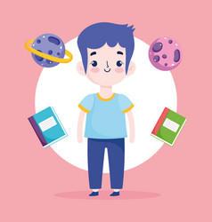 back to school student boy books and planets vector image