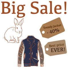 Big Sale with rabbit and mens jacket vector image