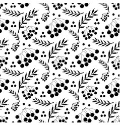 black and white autumn pattern with ashberry vector image