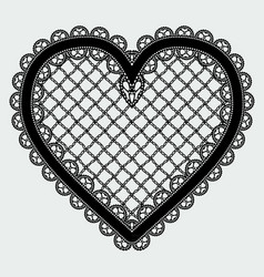 Black lace mesh heart feminine luxury element for vector