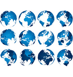 Blue earth globe globes sphere silhouette europe vector