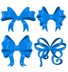 blue silky ribbon bows vector image