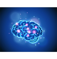 Brain Concept of blue background vector