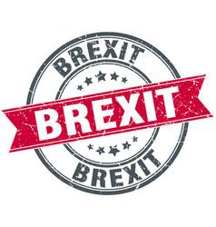 Brexit round grunge ribbon stamp vector
