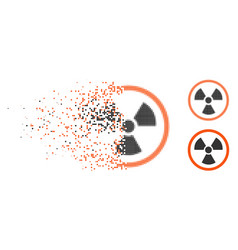 Broken dot halftone radiation danger icon vector