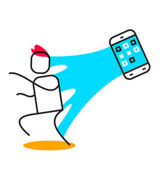 Business of man adhered to the web of phone vector