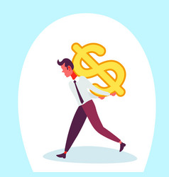 Businessman carry back dollar icon male money vector