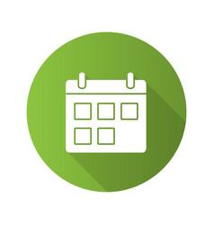 calendar flat design long shadow glyph icon vector image