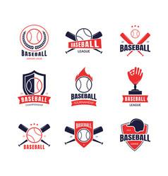 Cartoon color baseball insignias icon set vector