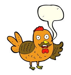 cartoon old rooster with speech bubble vector image