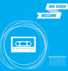 cassette icon on a blue background with abstract vector image