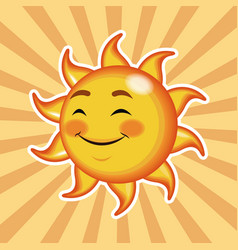 Character sun close eyes happy with striped vector