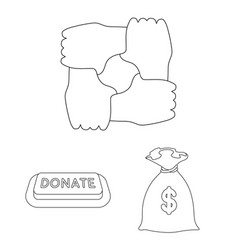 Charity and donation outline icons in set vector