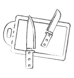 chopping board and knives monochrome blurred vector image