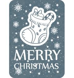 Christmas greeting card grey vector