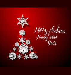 christmas tree card made from paper snowflakes vector image