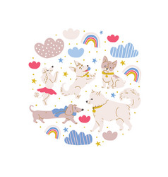 Circle with cute dogs vector
