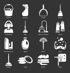 cleaning tools icons set grey vector image
