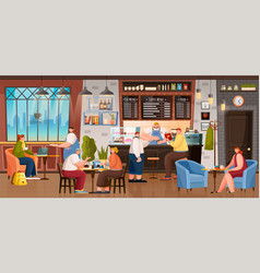 Coffee house inside people drinking beverages vector