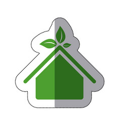Color sticker house with leaves above the roof vector