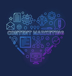content marketing colored outline heart vector image