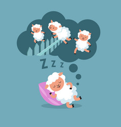 counting sheep to sleep at night jumping lamb to vector image