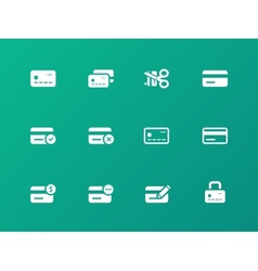 Credit card icons on green background vector