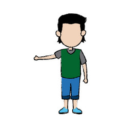 Cute boy kid male standing family people vector