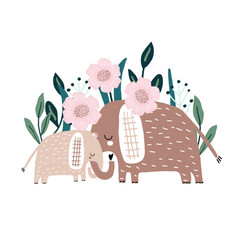 cute hand drawn elephanst mom and baby vector image